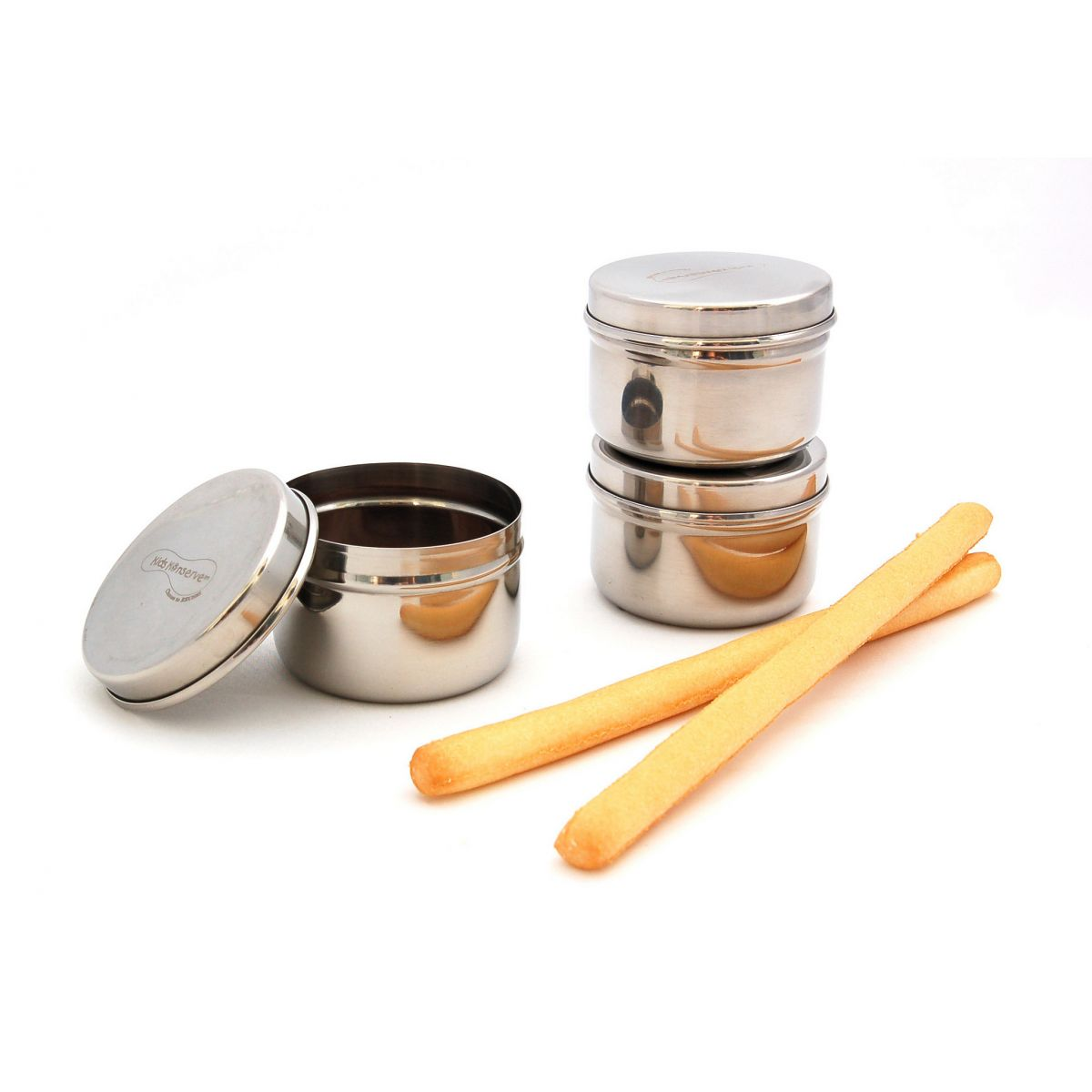 Trio minis r cipients en inox pour condiments 90 ml sebio for Recipient inox cuisine