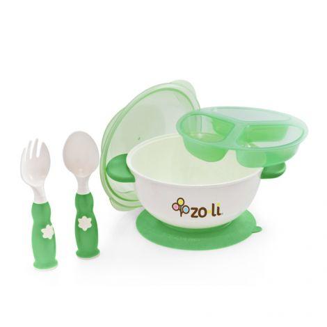 kit repas avec bol ventouse et couverts vert sans bpa ni. Black Bedroom Furniture Sets. Home Design Ideas