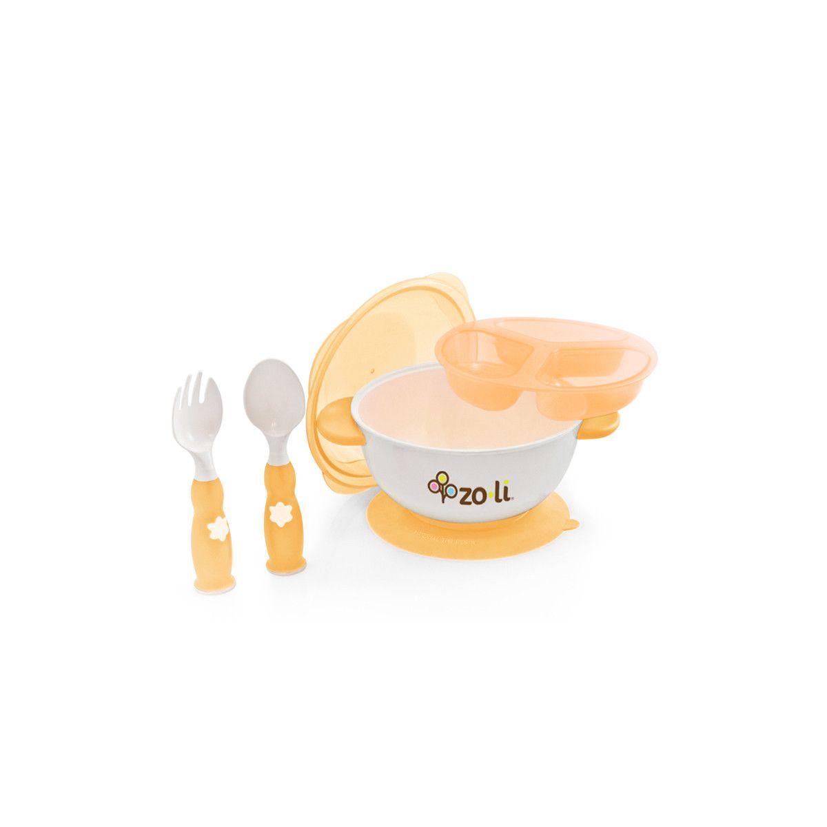 kit repas avec bol ventouse et couverts orange sans bpa ni. Black Bedroom Furniture Sets. Home Design Ideas