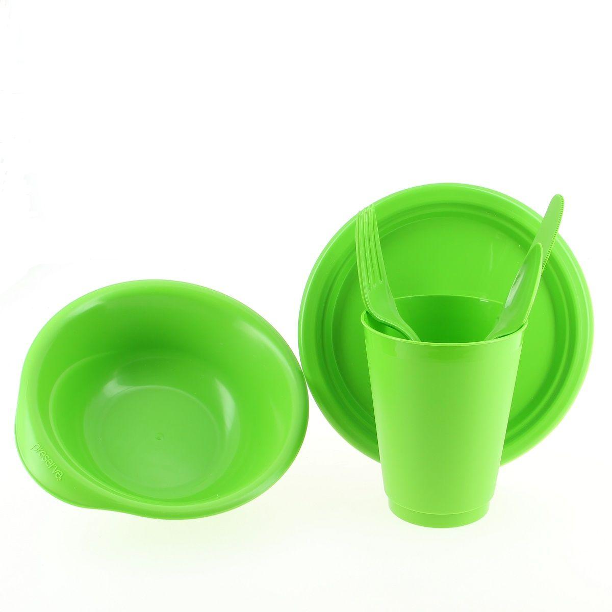 kit pique nique une petite assiette un bol un verre et des couverts vert sebio. Black Bedroom Furniture Sets. Home Design Ideas