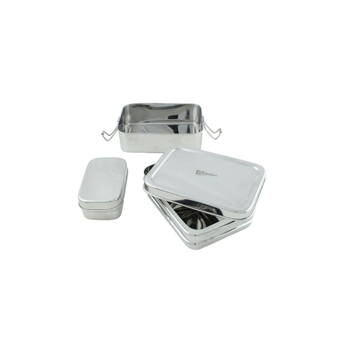 Bo te en inox avec deux tages et mini r cipient 900 ml for Recipient inox cuisine