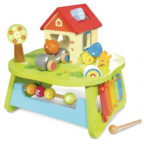 Table d 39 activit en bois partr de 1 an sebio for Table d activite pour bebe