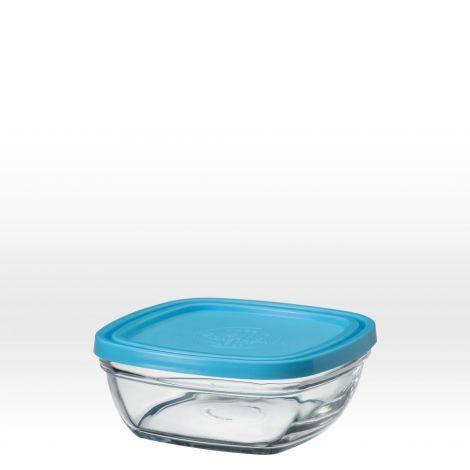 saladier carr en verre avec couvercle bleu 14 cm 61