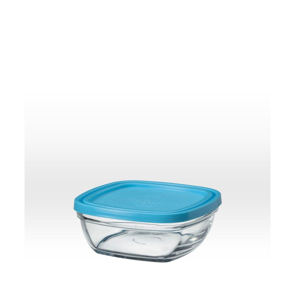 saladier carr en verre avec couvercle bleu 14 cm 61 cl sebio. Black Bedroom Furniture Sets. Home Design Ideas