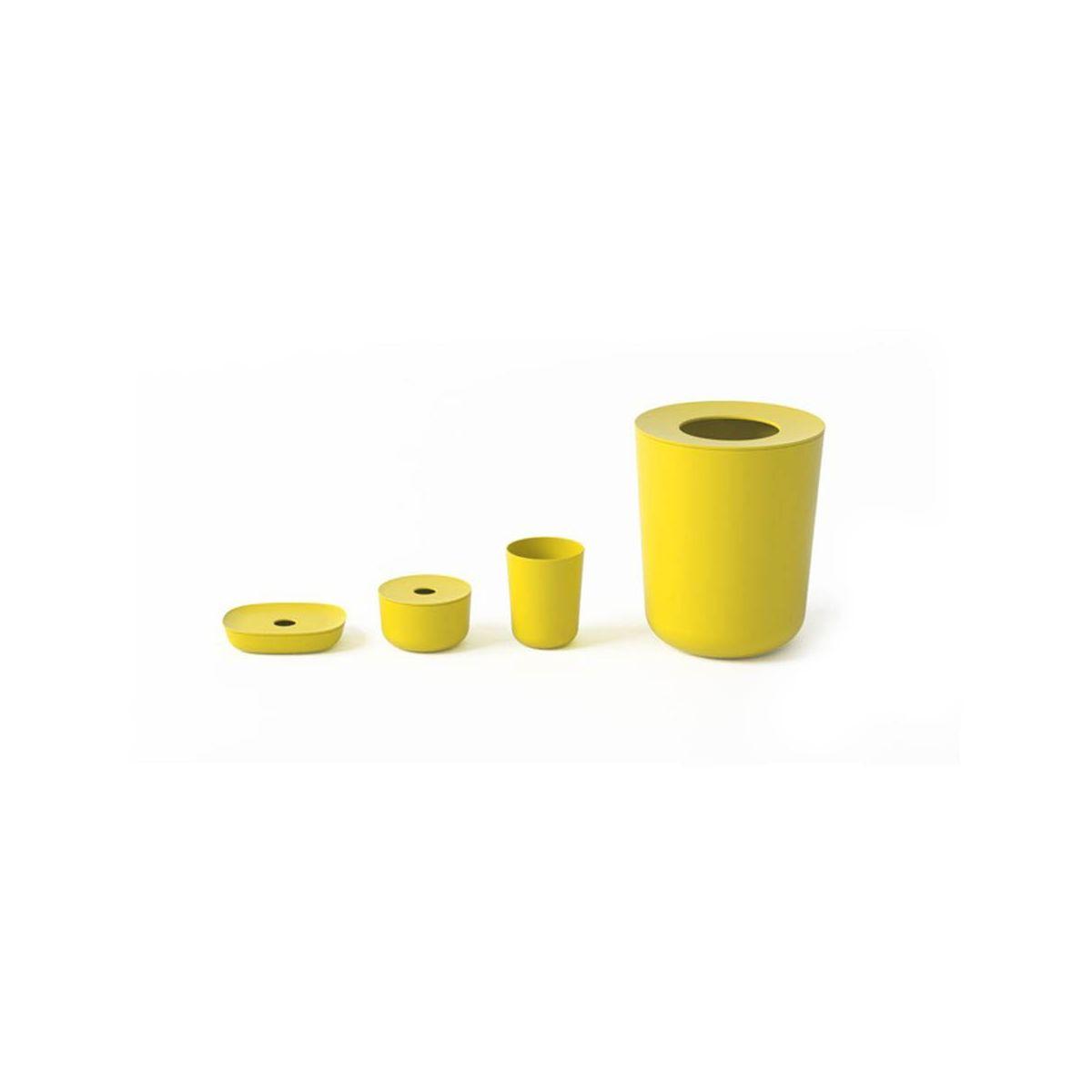 Set de bain en fibre de bambou jaune sebio for Set de salle de bain bambou