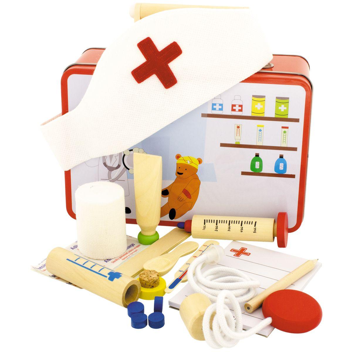 Malette Docteur 13 pièces ( pièces en bois ) + de 3 ans ~ Malette Docteur En Bois