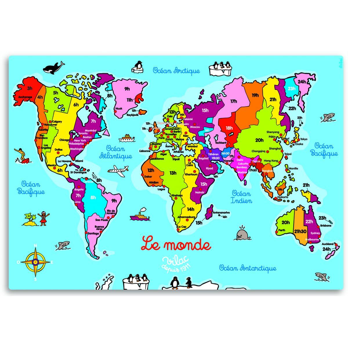 Carte du Monde en bois magnétique  à partir de 5 ans ( Vilac ) ~ Le Monde Du Jouet En Bois