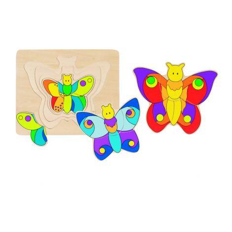 Puzzle en bois papillon partir de 2 ans sebio for Rehausseur a partir de 2 ans