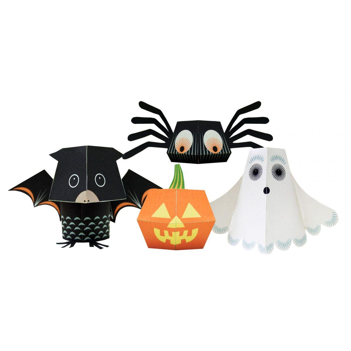paper toys team halloween set de bricolage 4 animaux sebio. Black Bedroom Furniture Sets. Home Design Ideas