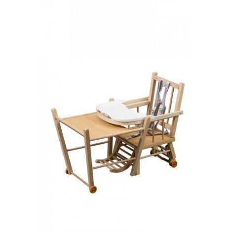 chaise haute transformable marcel vernis naturel sebio. Black Bedroom Furniture Sets. Home Design Ideas