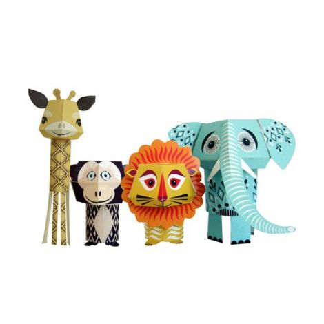 paper toys animaux de la savane set de bricolage 4 animaux sebio. Black Bedroom Furniture Sets. Home Design Ideas