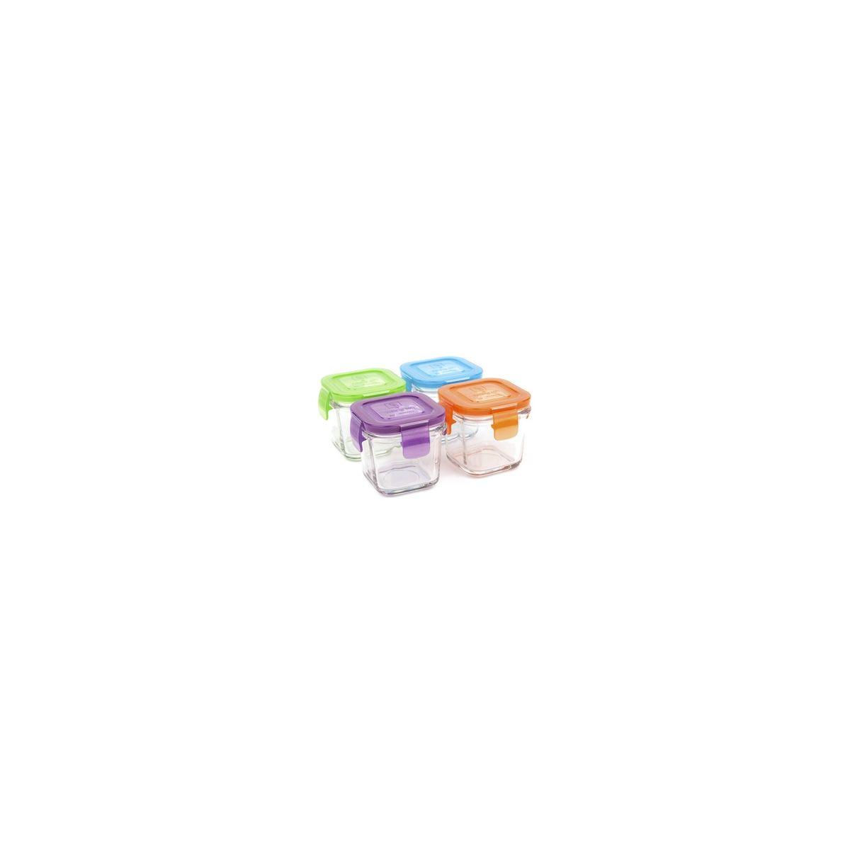 set de petits pots carr s en verre tremp avec couvercle 4 x 120 ml sebio. Black Bedroom Furniture Sets. Home Design Ideas