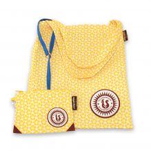 Petit sac cabas + pochette assortie - fleurs jaunes