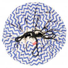 Sac de rangement et tapis de jeu (2 en 1) Play&Go - Zigzag bleu