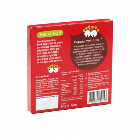 Barres Bio Amandes, cacahuètes, cranberries 3 x 20 g