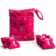 Kit de départ - serviettes hygiéniques lavables - Ultra - Rose oiseaux et libelulles