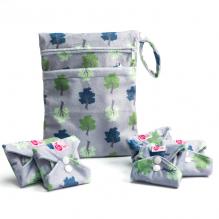 Kit de départ - serviettes hygiéniques lavables - Ultra - Gris clair arbres