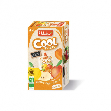 Cool Fruits - Pomme Pêche Abricot - Lot de 12 Gourdes
