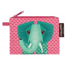 """Mini trousse - porte monnaie en coton BIO """"Eléphant"""""""