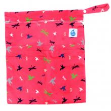 Kit de départ - serviettes hygiéniques lavables nuages - Pochette rose oiseaux et libelulles