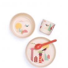Set de vaisselle enfant en fibre de Bambou biodégradable - Arbres