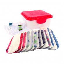 Kit complet - serviettes hygiéniques lavables - Mix minky blanc